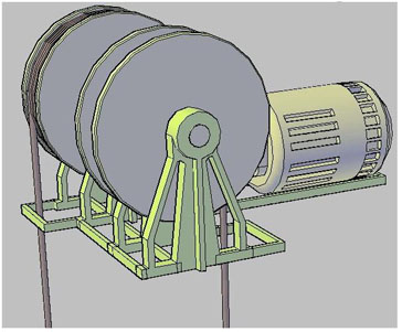 Traction motor with separate sheave for counter weight